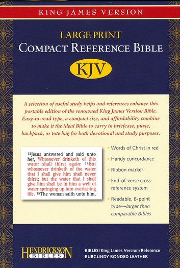 KJV Compact Large Print Reference Bible, Bonded Leather